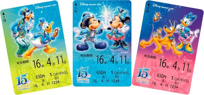 ディズニーシー15周年イベントデザインのフリーきっぷ (c)Disney
