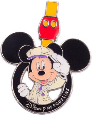 フリーきっぷを集めて貰えるピンバッジ (c)Disney