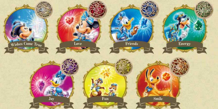 各キャラクターのウィッシュ・クリスタル (c)Disney
